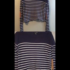 Forever 21 navy stripe elbow patch cropped sweater